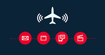 an infographic showing the capabilities of inflight internet connectivity